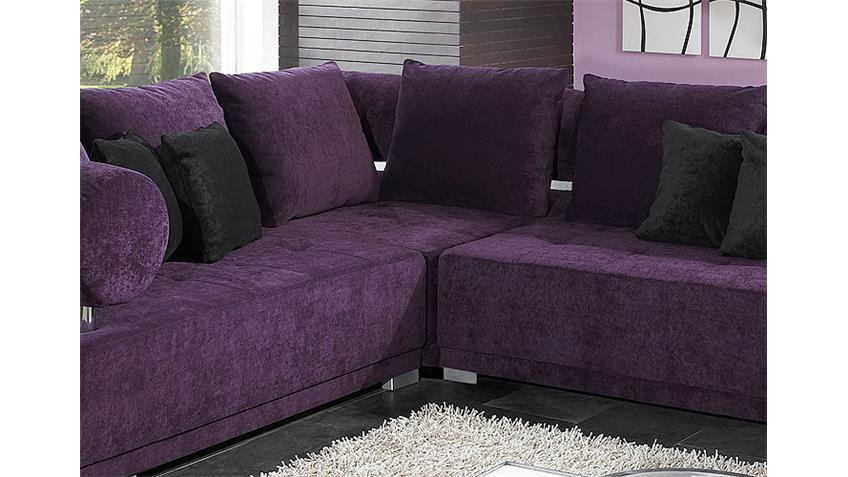 Ecksofa FROG III Megasofa Bigsofa Sofa in lila und Chrom