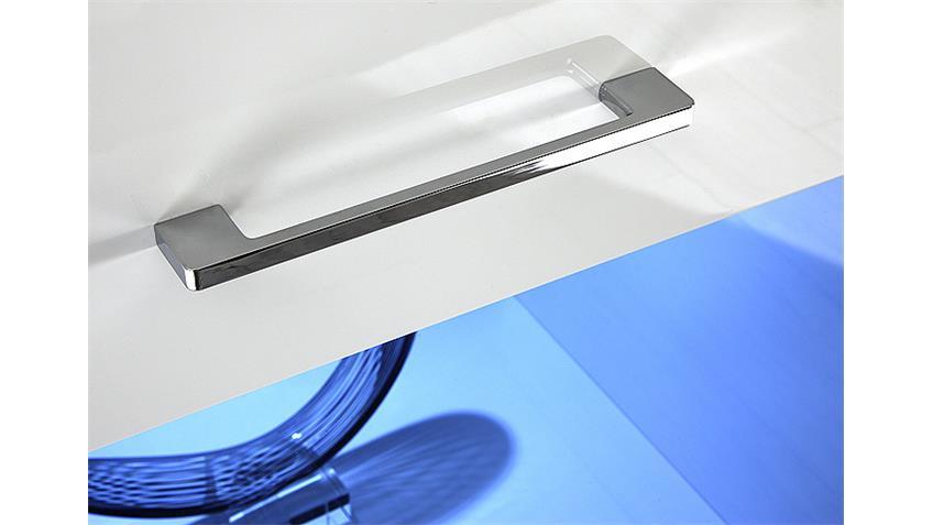 Sideboard I LENS Kommode in weiß Hochglanz mit grauem Glas