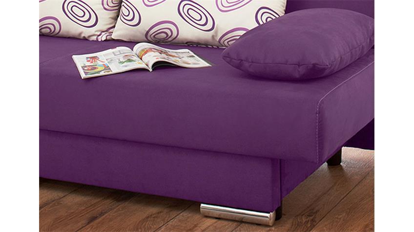 Schlafsofa TIFFANY I modernes Sofa lila inklusive 4 Kissen
