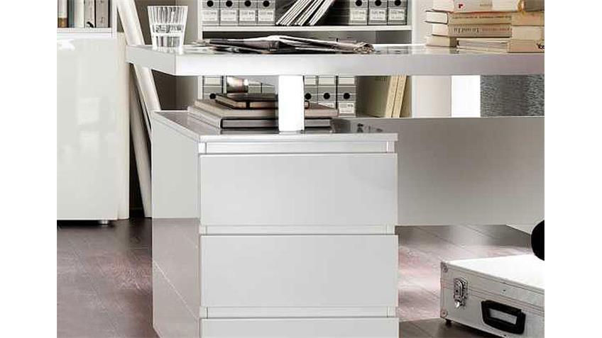 Schreibtisch SYDNEY Tisch in MDF hochglanz weiß lackiert