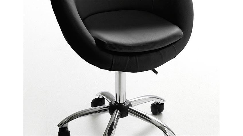 Drehstuhl VIANA Lederlook schwarz höhenverstellbar