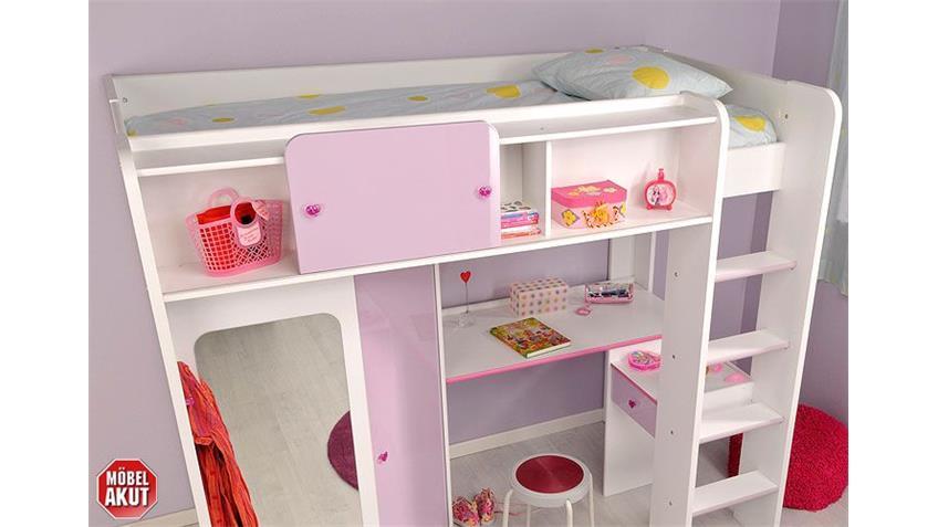 Hochbett MADAME Etagenbett Bett in weiß und lila hochglanz