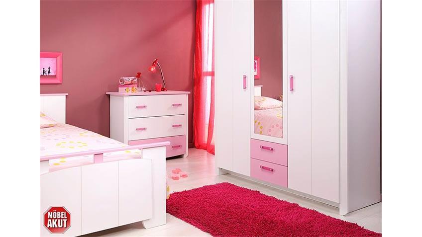 Kinderzimmerset BEAUTY I Schrank Kommode Bett weiß und rosa