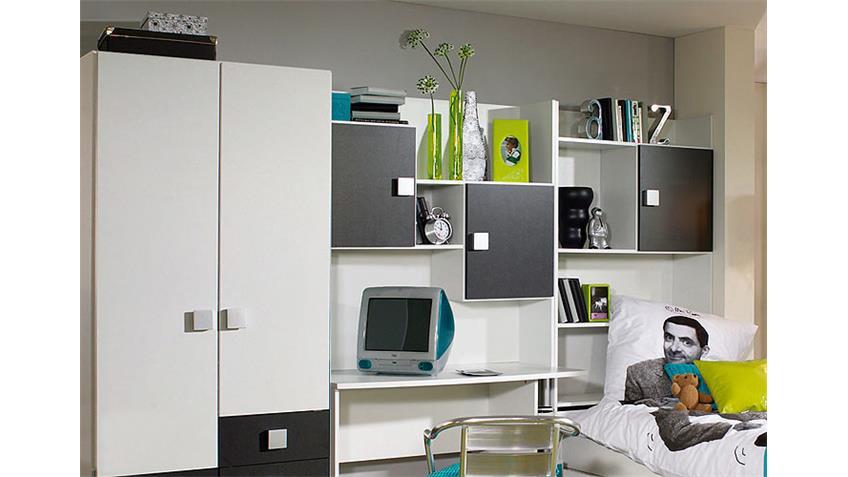 Jugendzimmer III SKATE in Weiß und Grau Metallic mit Tisch