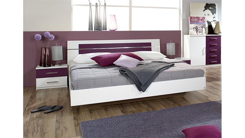 BURANO Schlafzimmerset Weiß und Brombeer