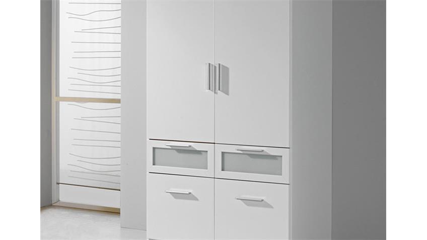 Kleiderschrank I BOCHUM Schrank in Weiß & Milchglas 91 cm