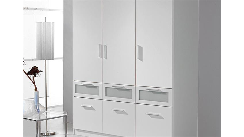 Kleiderschrank II BOCHUM Schrank weiß und Milchglas 136 cm