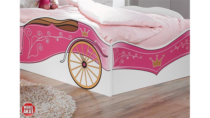 Kinderbett KATE Autobett Bett in weiß und rosa Dekor