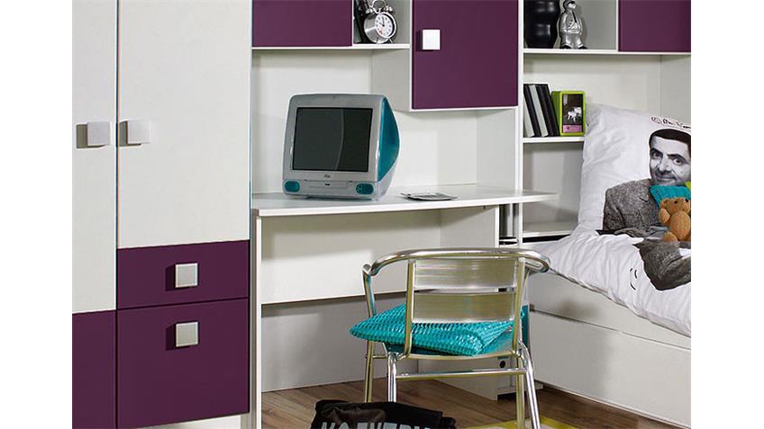 Jugendzimmer SKATE Kinderzimmer in Alpinweiß und lila