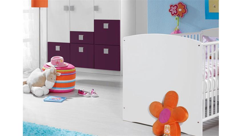 Babyzimmer SKATE Kinderzimmer in weiß und lila vierteilig