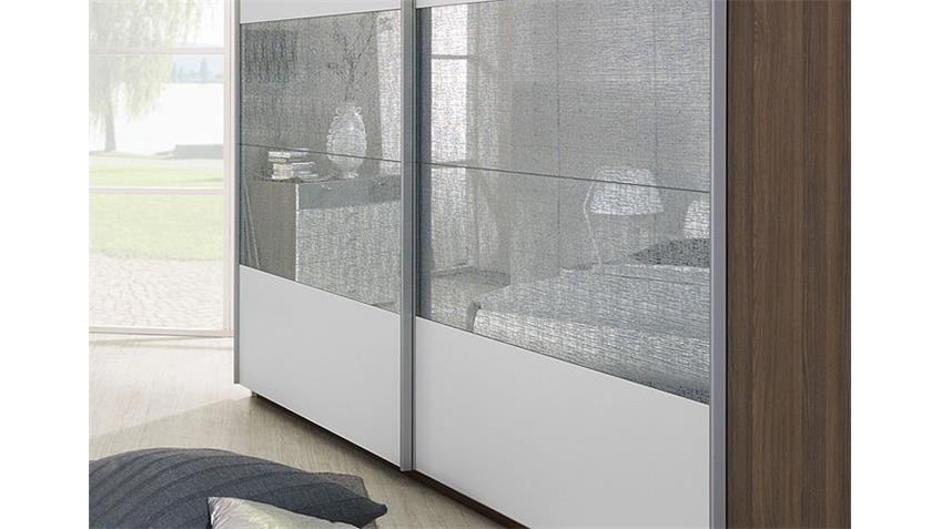 CALUA Schwebetürenschrank Esche 225 cm Weiß/Esche/Glas