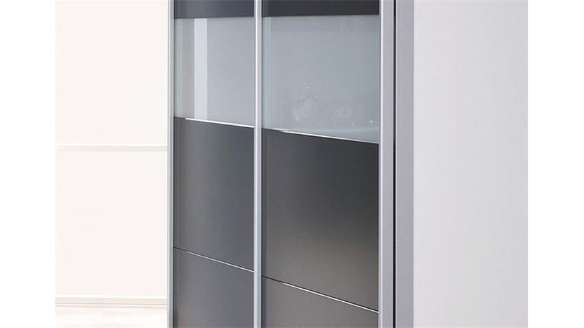 CHICA Schwebetürenschrank Alpinweiß/Grau Metallic 2-türig