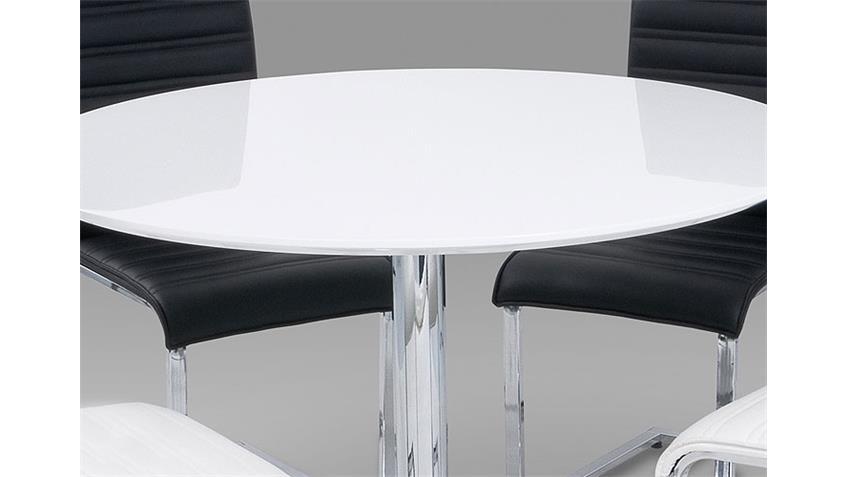 Esstisch GUTI Tisch in weiß hochglanz und Chrom 110 cm