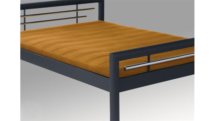 Bett SAMI Doppelbett in schwarz matt mit Chromdeko 180x200