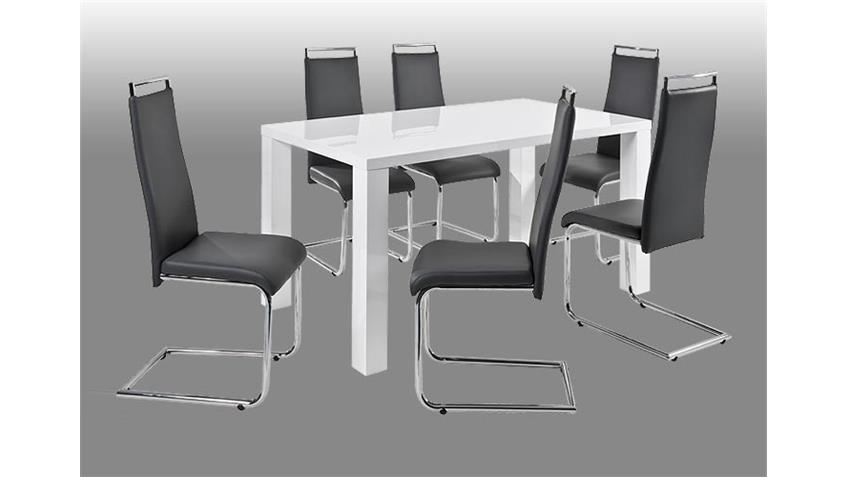 Schwingstuhl VALDES Stuhl 4er Set in schwarz und Chrom