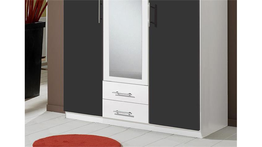 Kleiderschrank CLIP Schrank in weiß und anthrazit 3 türig