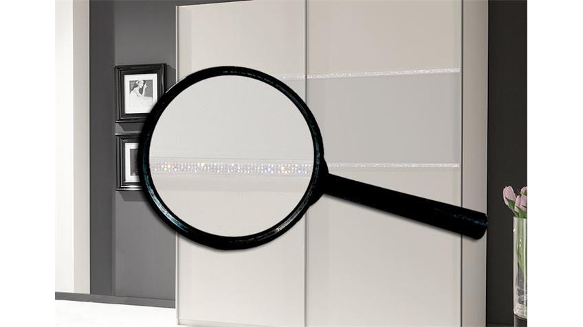 Schwebetürenschrank BUZZ in Weiß mit Strass Dekor 135