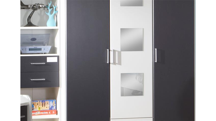 Kleiderschrank ROCKO Schrank in weiß und anthrazit Dekor