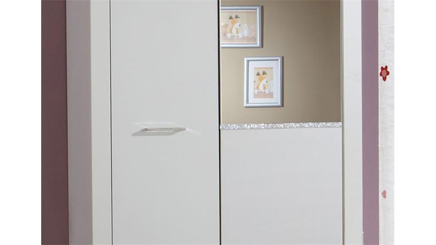 Kleiderschrank NIGHT Schrank 90 cm weiß mit Strasskristall