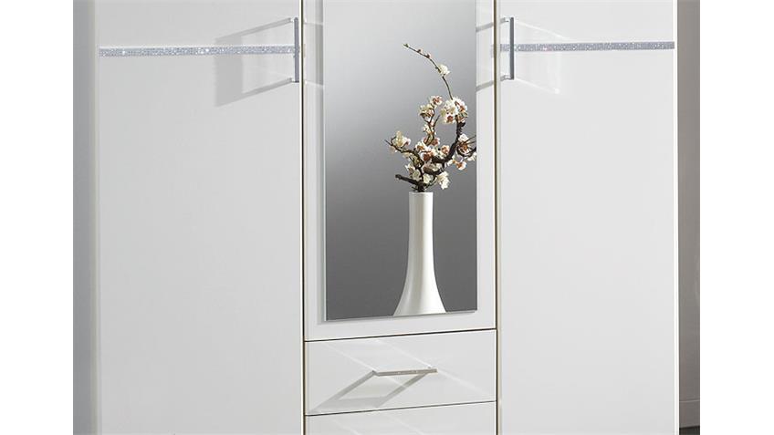 Kleiderschrank KOMARO Schrank in Weiß mit Strass 135 cm