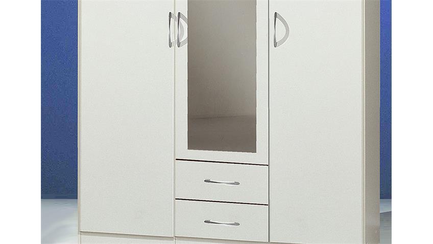 SIDNEY Kleiderschrank Weiß 135/198 cm I Weiß