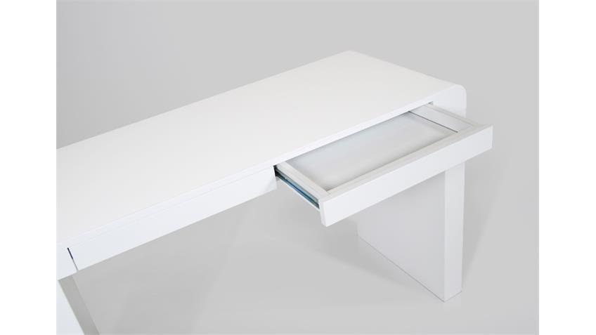 Schreibtisch CONDA Tisch in weiß Hochglanzlack 120x76x50