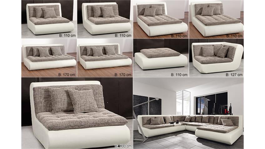 Sofa CLUB I Zwischenelement in weiß inkl. 3 Kuschelkissen
