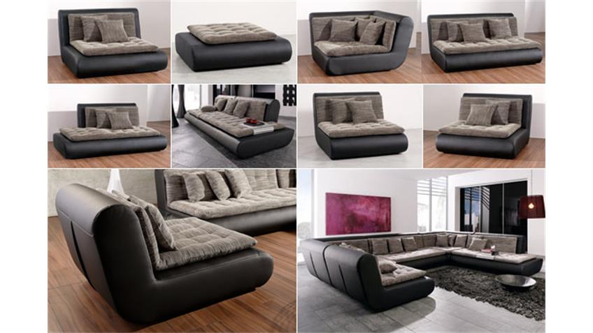 Ecksofa Club II Wohnlandschaft Sofa in schwarz mit Webstoff