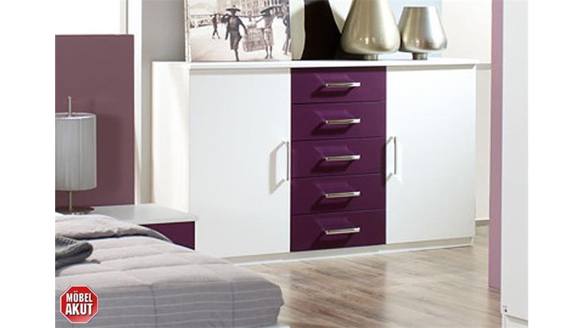 Schlafzimmer-Set BURANO in Weiß und Brombeer 4-teilig