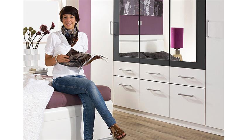 Schlafzimmerset II DONGIO in Weiß und Grau-Metallic