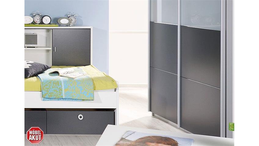Jugendzimmer-Set CHICA Alpinweiß und Grau Metallic 2-teilig