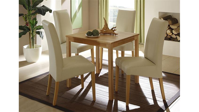 Esstisch PAULA Tisch in Kernbuche massiv kolonial 75x75cm