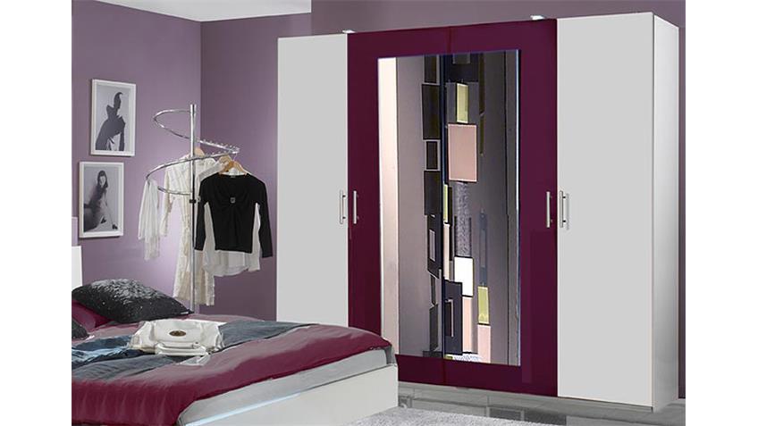 NAPOLI Schlafzimmer Set VII in weiß und  brombeer