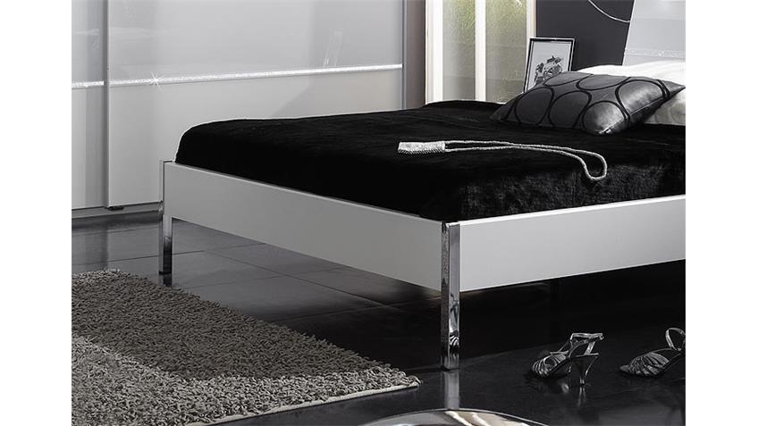 PLATO Schlafzimmerset I Weiß/Weißglas/Strass