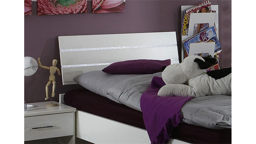 Bett NIGHT weiß mit Strasskristall mit der Liegefäche 90x200