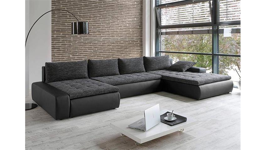 Wohnlandschaft I PANAMERA in weiß grau Sofa mit Bettfunktion