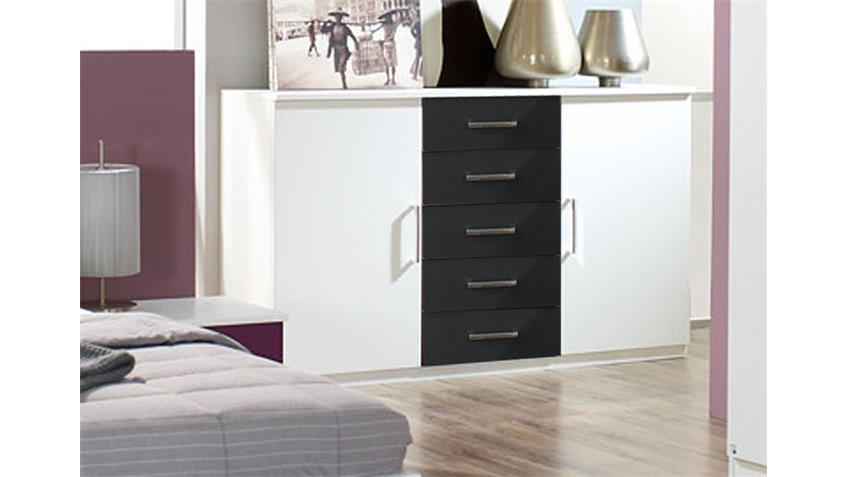 Schlafzimmer-Set BURANO in Weiß und Grau Metallic 4-teilig