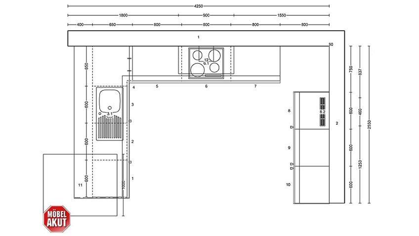 NOBILIA Einbauküche inkl.Geschirrspüler - 435