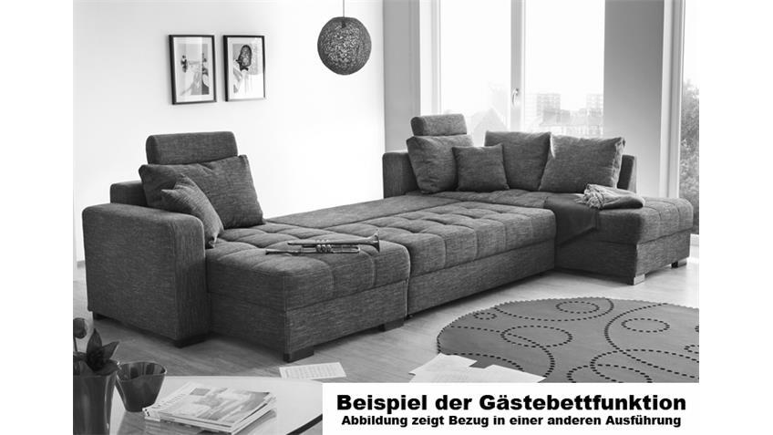 Wohnlandschaft ANTEGO mit Gästebettfunktion Stoff grau