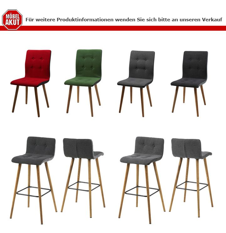 Stuhl Frida 2er Set Retro Polsterstuhl In Dunkelgrau Beine Eiche