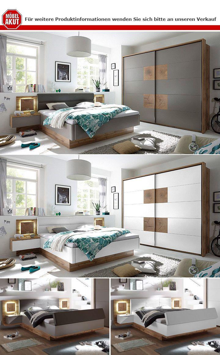 Schlafzimmer Set komplett Capri Bett Schrank Nako Wildeiche