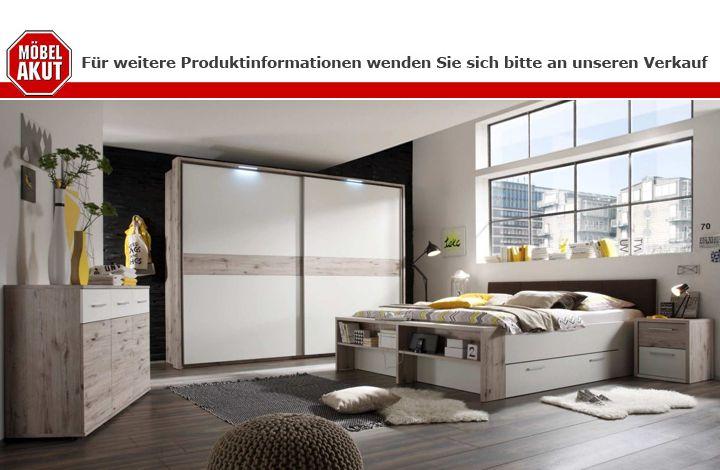 Schlafzimmer Set Jules in Sandeiche und weiß Bett 180x200 cm ...