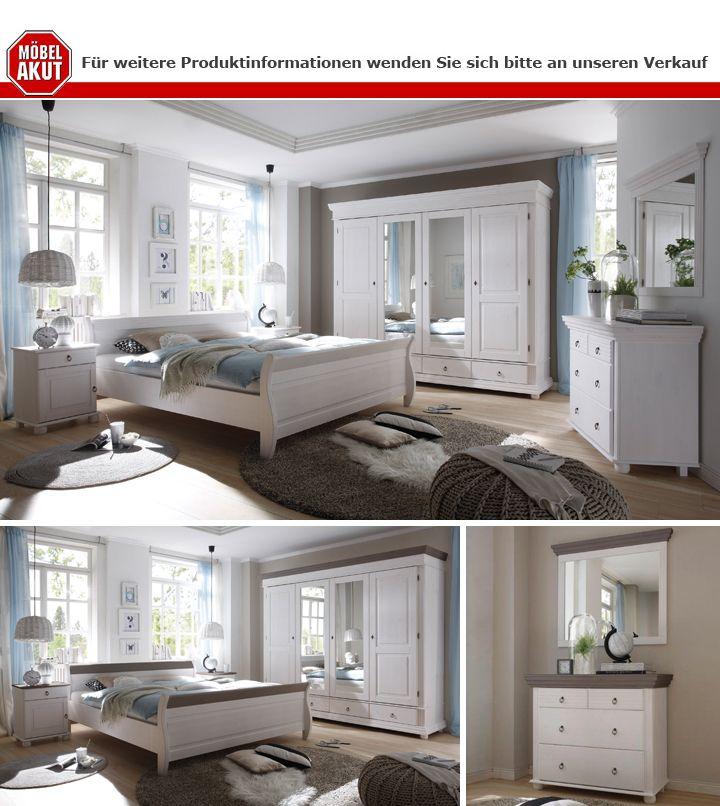 Schlafzimmer Set Oslo Kiefer massiv weiß und Lava Nachttische ...