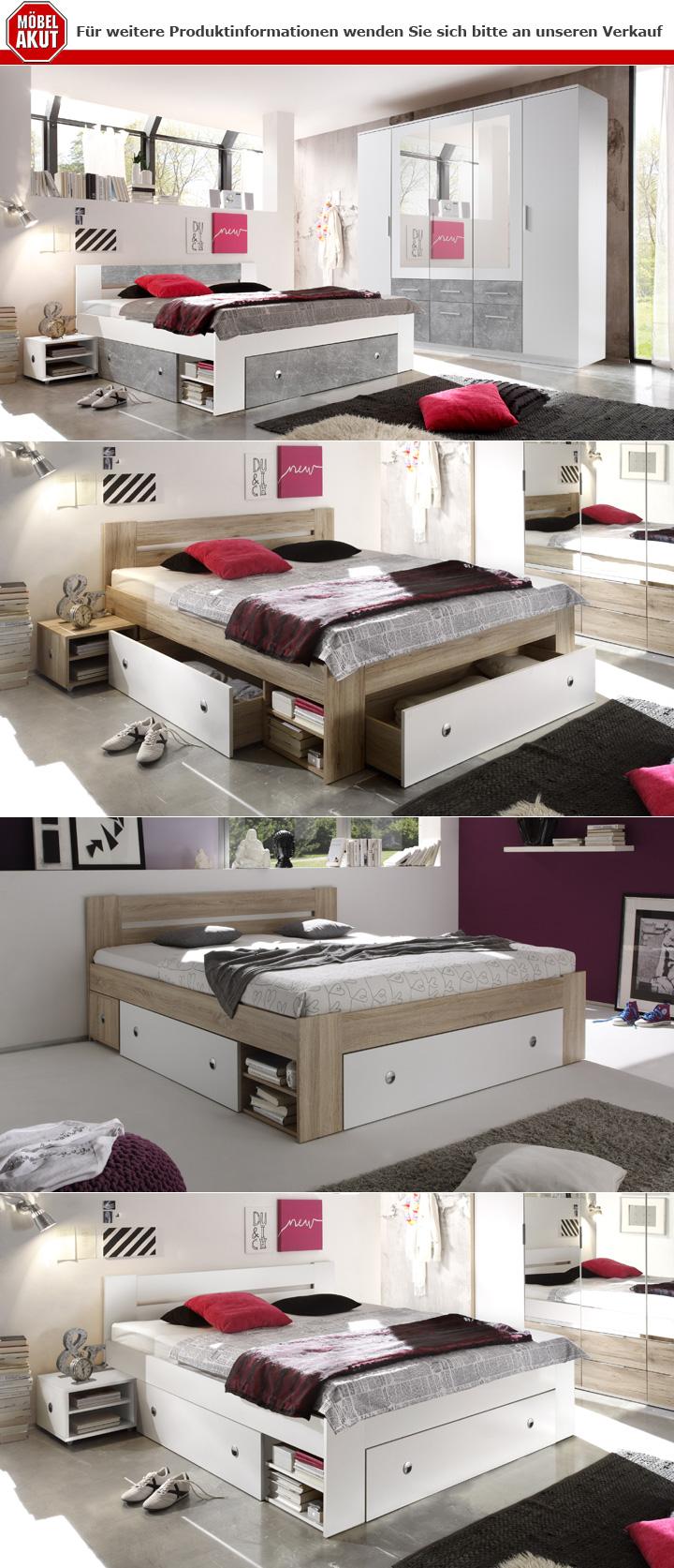 Schlafzimmer Stefan Box 5 Bett Schrank Nachttisch weiß Beton 4 ...
