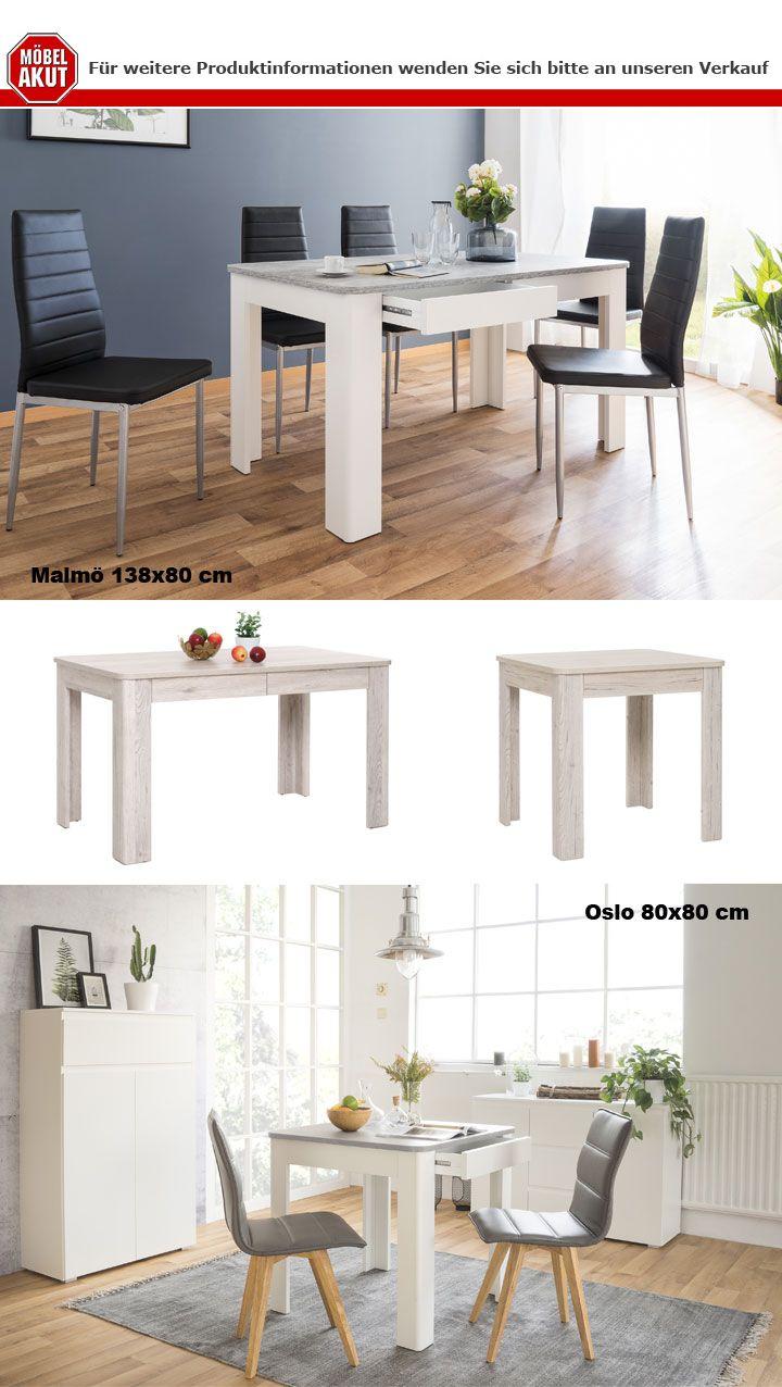 Küchentisch Oslo weiß und Beton Esszimmer Tisch Esstisch mit ...