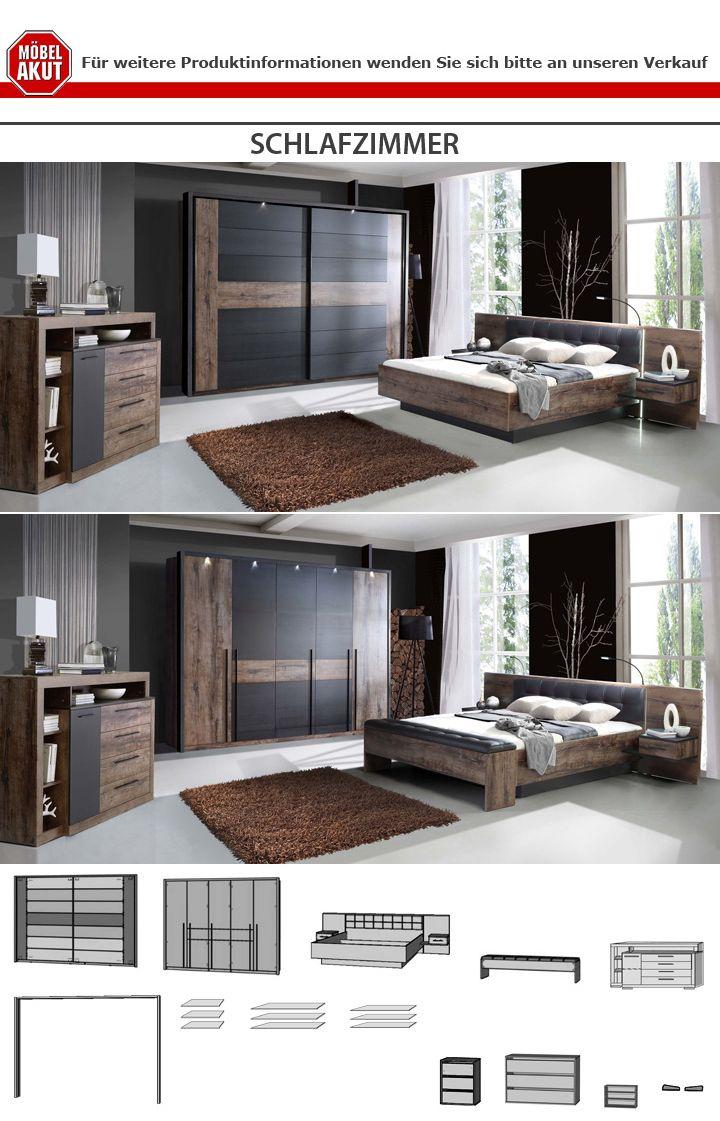 Schlafzimmer Bellevue Bett 180x200 Nachttische Schwebetürenschrank ...