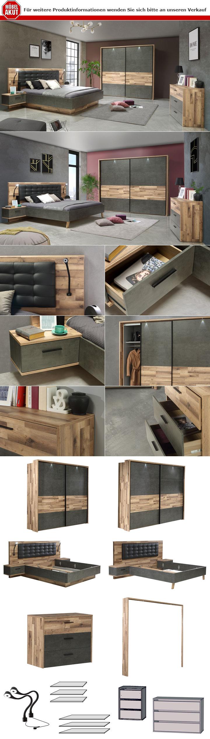 Schlafzimmer 1 Ricciano Komplett Set in Stabeiche Betonoptik