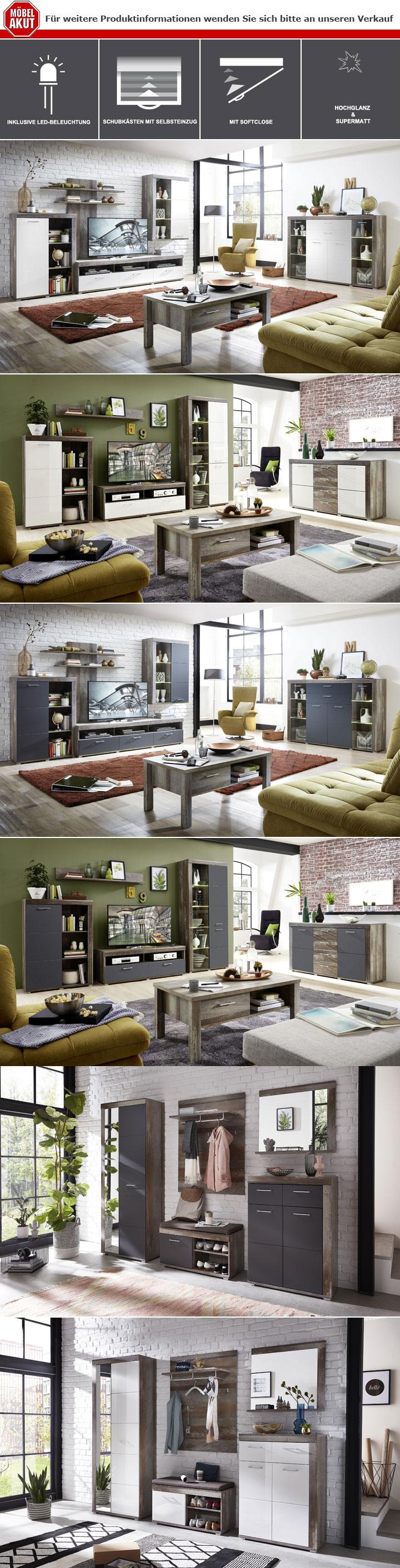 Wohnwand 2 Crown X Wohnzimmer Anbauwand Weiss Hochglanz Und Driftwood