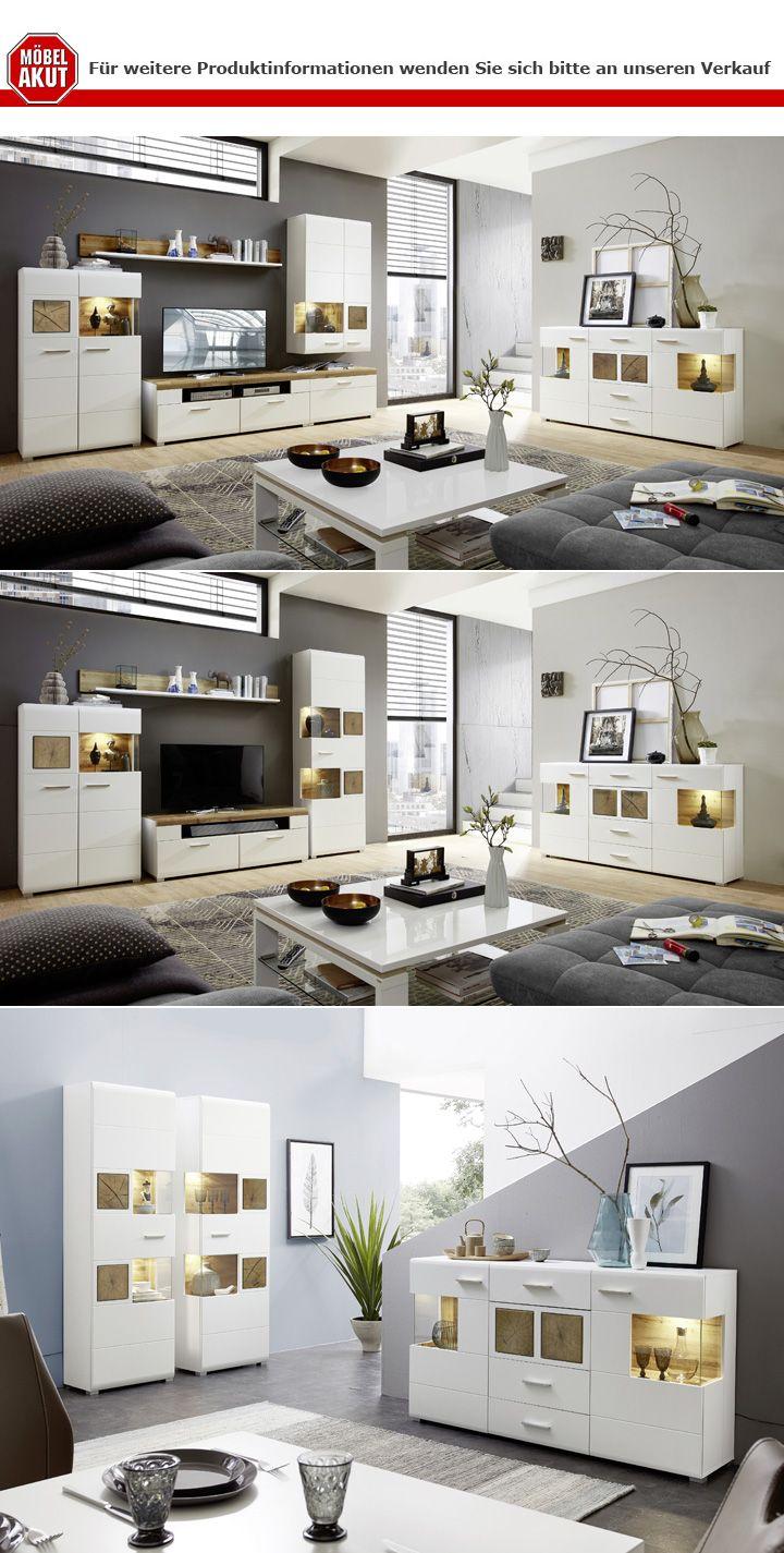 Details Zu Wohnwand Fun Plus Wohnzimmer Anbauwand Weiss Matt Eiche Altholz Hirnholz Mit Led