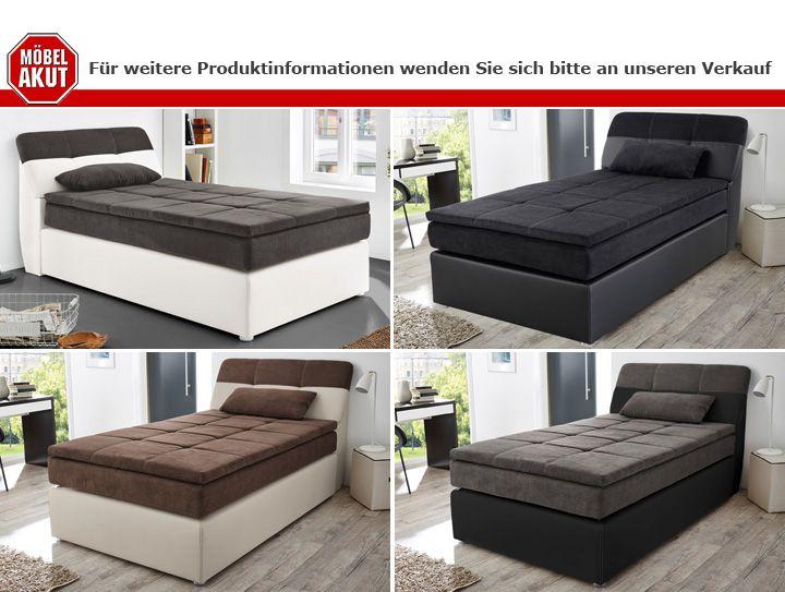 boxspringbett odessa schlafzimmerbett bett in schwarz grau inkl topper 120x200 ebay. Black Bedroom Furniture Sets. Home Design Ideas
